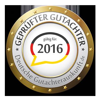 Sigel Geprüfter Gutachrer Deutsche Gutachterauskunft 2016